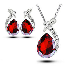 Women Chic Crystal Pendant Chain Necklace Stud Silver Plated Earring Jewelry Set Red
