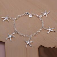 Bracelet  cinq étoiles de mer plaqué argent 925 19 cm homme femme