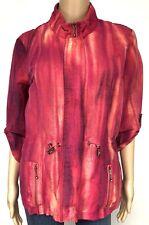 Chicos 1 Jacket Medium Zip Up Windbreaker Pink Linen Drawstring Waist Pockets