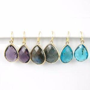 Bezel Gemstone Teardrop Pendant Earrings - Gold Plated Hooks - All Stones