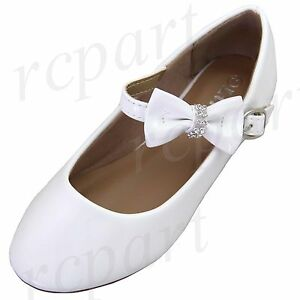 New girl's kids buckle closure White synthetic patent flower girl dress shoes