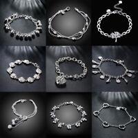 925 Sterling Silver Chain Hollow Hook & Eye Bracelet for lady Women Jewelry Gift
