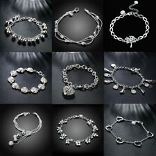 925 Sterling Silver Chain Hollow Hook & Eye Bracelet for lady Women Jewelry Gift