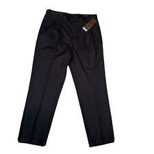 Perry Ellis Mens Black Dress Slacks 36 x 34 Black Stripes NWT