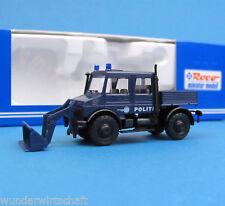 Roco H0 1638 UNIMOG U 2150 mit Frontlader POLITI Polizei Kopenhagen DK HO 1:87
