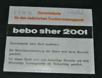 DDR Garantie Urkunde Rasierer bebo sher 2001 VEB Bergmann-Borsig von 1979