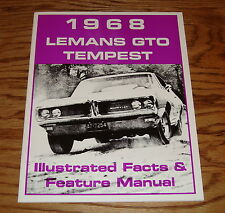 1968 Pontiac LeMans Tempest GTO Illustrated Facts & Feature Manual Brochure 68