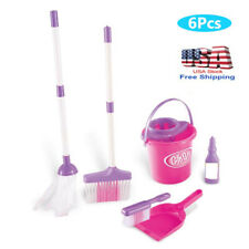 6x Kids Simulation Broom Mop Bucket Brush Cleaning Tool Pretend Play Toy Set New