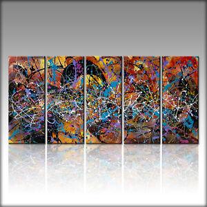 Vnartist / ORIGINAL 150cm x 70cm ( 5 Bilder 30x70cm ) Abstrakt Bilder 1033