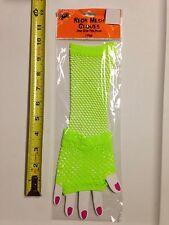 Neon Green Cyber Punk Gothic Fingerless Gloves Arm Warm Mesh Fishnet Blacklight