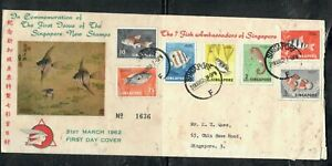 SINGAPORE COVER (P1508B) 1962 FISH SET TO 30C 7 VALUES  CACHETED FDC