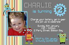 Personalised Robots Invitations Birthday 1st 2nd 3rd etc Boys Photo Invites