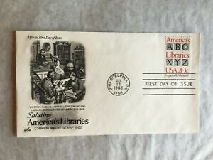 UNITED STATES USA 1982 FDC ART CRAFT SALUTING AMERICA'S LIBRARY