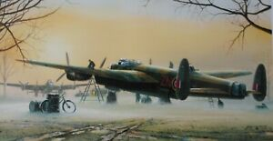 LANCASTERS AT THE READY Philip E.West Ltd Edtn print signed artist + 3 WWII RAF