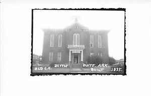 G77/ Bettis Bluff Arkansas RPPC Postcard c50s Old Court House