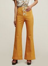 NEW Free People amber yellow Lace Up Front Stretch Flare Pants 0