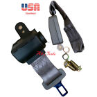 1 Universal Car Seat Belt Lap 2 Point Safety Gray Adjustable Retractable Auto