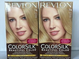 2 x Revlon COLORSILK Beautiful Color Permanent Hair Color 74 MEDIUM BLONDE