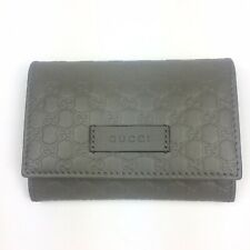 AUTHENTIC New Gucci Micro-GG Gray Leather Card Case Wallet, #544030, NWT