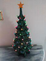 """Vintage Atlantic Mold Ceramic Lighted Christmas Tree 24"""" Rare Narrow Tree"""
