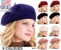 9 Colours Unisex Men Women 100% Wool Warm Beret Beanie Hat Cap French Style M003