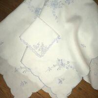 "VTG Tablecloth Lt Blue Madeira Embroidery 34"" Tea Tablecloth Linen  10 Napkins"