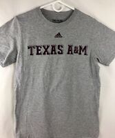 Adidas The Go-To Tee Texas A&M T-Shirt Gray Maroon Logo Small Aggies SEC EUC