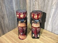 (2)Vintage Hand Carved Painted Wood Jamaica Statue Heads Artist Signed Totem F3