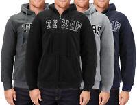 Men's Texas Zip Up Fleece Hoodie Warm Sherpa Lined Embroidered Sweater Jacket