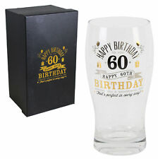 Vintage Signography Range Birthday Beer Glass - 60th