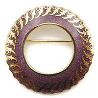Vintage Gold Tone Isle Of Skye Purple Enamel Round Openwork Brooch Scarf Pin