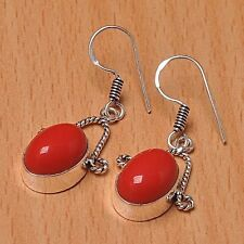 925 Silver Overlay Earrings Jewellery - Coral - 20mm Height - EAR-A396