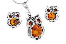 Owls Set Sterling Silver Amber Pendant Stud Earrings Jewellery Jewelry +Chain