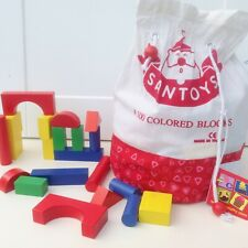 100pce Wooden Coloured Building Blocks Santoys Kids Creative Learning Play Gift