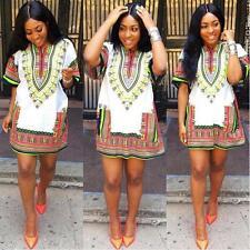 Fashion Women Traditional African Print Dashiki Dress Short Sleeve Party Dress M