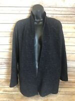 Eileen Fisher Long Sleeve Open Front Cardigan Sweater Size Medium Black Casual