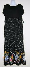 JESSICA HOWARD BLACK SUNDRESS EMPIRE WAIST SHORT SLV FLOWERS SIZE 16 NWT!