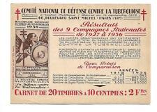 carnet timbre vignette antituberculeux tuberculose anti-tuberculosis 1936 stamp
