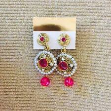 Indian traditional earring with pink crystal drops