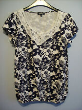 Top Ladies Blue & White Floral Size 10 by Papaya  100 % Cotton New