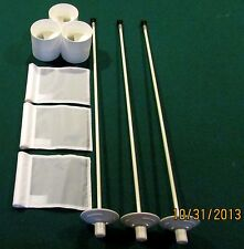 "PUTTING GREEN PACKAGE - 3 POLES - 3 WHITE FLAGS - 3  ALUMINUM - 4 1/4""  CUPS"