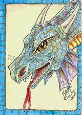 Slither Dragon giant blue Lizard ACEO PRINT EBSQ Kim Loberg fantasy Art creature