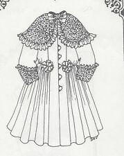 "27-28""ANTIQUE DOLL RIBBON&ROSETTE COAT-DRESS PATTERN/FRENCH JUMEAU-GERMAN CHILD"