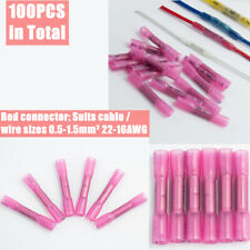 100pcs Red Waterproof Heat Shrink Butt Wire Crimp Connectors 22-16AWG