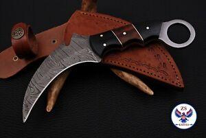 CUSTOM HANDMADE DAMASCUS STEEL KARAMBIT KNIFE WITH HORN & WOOD HANDLE - ZS 33