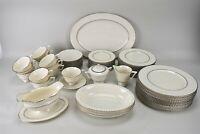 Lenox Colonnade Platinum Trim Ribbed Rim Plates Cups Platter Serving Service 12