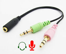 100x Gold 3.5mm Female to 2x 3.5mm stereo Male PC LAPTOP MAC Speaker Mic Headset