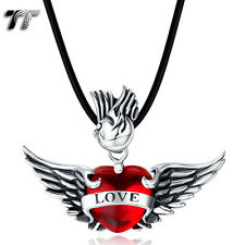 High Quality TT 316L Stainless Steel Angel Wing Love Heart Pendant (NP307) NEW