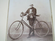 Man with Bicycle Cyclist wearing Medals Cabinet Photo Stuttgart Germany Photo