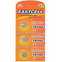 3 x CR1025  3V Lithium Knopfzelle 30 mAh ( 1 Blistercard a 3 Batterien) EASTCELL